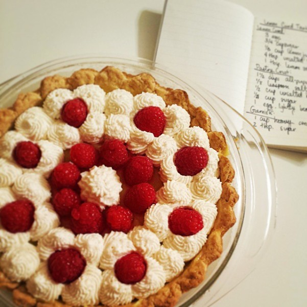 Lemon Curd Tart with Vanilla Bean Whipped Cream and Fresh Raspberries
